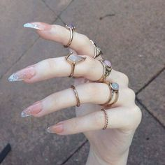 Pretty nails a little too pointy for my daily needs but a very cute collection of rings too☺✨✨✨✨✨