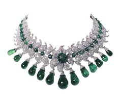 Necklace and earrings, Van Cleef & Arpels, Paris, 1949–50. This impressive  suite of jewellery was designed by Jacques Arpels for Sita Devi, the second  wife of Maharaja Pratapsinh Gaekwad of Baroda. She provided the remarkable  set of carved and cabochon emeralds from the Baroda treasury.
