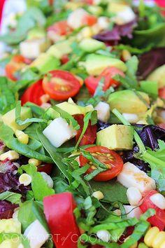 Tomato, Avocado, Corn and Basil Salad With Lemon-Balsamic Vinaigrette