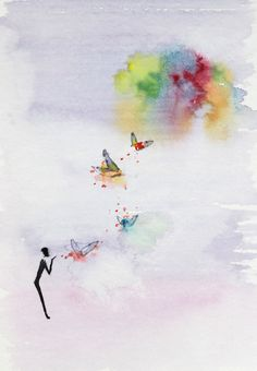 """poetry book Illustration project: """"Metaphors that Teach to Fish"""". Watercolor images accompanying an abstract story on everyday life, inner mind and the body and soul. - #winged thoughts# -"""