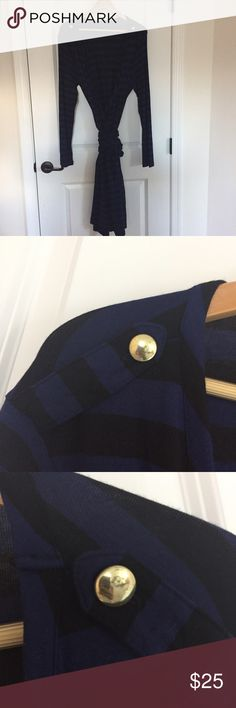 Striped Wrap Dress Beautiful wrap dress with deep blue and black stripes. Long sleeves. Dress is approximately 45.5 inches long. Gold buttons on the shoulders gives a sailor vibe. Great for winter with a pair of boots. Banana Republic Dresses
