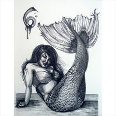 """loteriart:  crystal-celeste:  I can say I've been a bit obsessed with mermaids since I was a kid. Here's a lithograph that will be up for grabs along with many of my smaller pieces at Studio Grand's art Bazaar in Oakland this Saturday! I will also be posting this in my online store listed in bio. ©2008 Crystal Galindo.  """"Sirenita Coqueta"""" ©2008 by Crystal Galindo."""