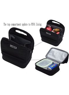 MIER Dual Compartment Insulated Lunch Box Bag Reusable Cooler Bag for Women, Kids