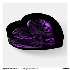 Shop Filigree Goth Purple Heart Paperweight created by vamporium. Dark Purple Bathroom, Purple Bathrooms, Purple Teal, Deep Purple, Plum Wedding, Sugar Skull Art, Neo Victorian, Decoration Piece, Room Ideas Bedroom