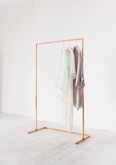 Minimal Copper Pipe Clothing Rail / Garment Rack / Clothes Storage by LittleDeerInteriors on Etsy https://www.etsy.com/uk/listing/498865514/minimal-copper-pipe-clothing-rail