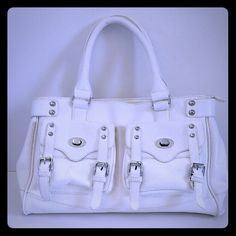 Bueno work satchel bag in white faux leather Worn several times but still in very good condition. Some scuffs on the bag of the back and front as shown in the picture. Inside is clean and no rips or stain. 2 pockets on front and 2 zip compartments inside. Zip top satchel style, no long strap. bueno Bags Satchels