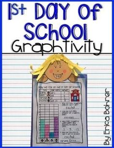 This is a graphing and craft activity for the first day of school.  The activity is simple, engaging, and makes an easy hallway display.  Poll your students using a large whole class graph (graphing pieces and display sign included).  Your students will g