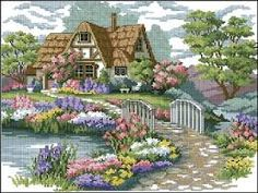 Thrilling Designing Your Own Cross Stitch Embroidery Patterns Ideas. Exhilarating Designing Your Own Cross Stitch Embroidery Patterns Ideas. Cross Stitch House, Cross Stitch Kits, Counted Cross Stitch Patterns, Cross Stitch Designs, Cross Stitch Embroidery, Embroidery Patterns, Eiffel Tower Painting, Cross Stitch Landscape, Cottage Art
