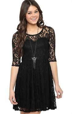 Three-Quarter Sleeve Lace Skater Dress with Illusion Neckline