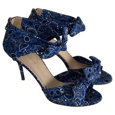 Cloth sandals Charlotte Olympia Blue size 39 EU in Cloth - 9883854 Sandals Outfit, Women's Shoes Sandals, Heels, Cloth Sandals, Charlotte Olympia, Shoe Box, Luxury Consignment, Stuff To Buy, Clothes