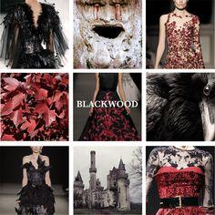 """Casa Blackwood de Árbol de los Cuervos. Su escudo es una bandada de cuervos negros rodeando un escusón de sable con un arciano blanco muerto en el centro, sobre campo rojo. Su lema: """"Los antiguos dioses escuchan"""". Región: Tierras de los Ríos"""
