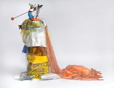 Isa Genzken  Goofy, 2008  Wood, tape, mirror foil, fabric, acrylic, spray-paint, plastic, colour and b/w print on paper, metal, polyester, foam, bird feathers and stuffed animal   180 x 111 x 245 cm / 70 7/8 x 43 3/4 x 96 1/2 in