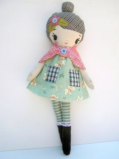sweet handmade doll - I like the fabric for the hair