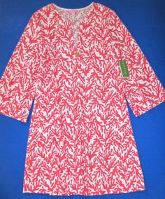 LILLY PULITZER Extra Large Valetta Island CORAL ZIP Terry Coverup Dress NWT XL #LillyPulitzer #Sundress #Casual