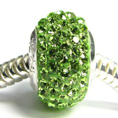 http://cheune.com/store Sterling Silver Birthstone Round Peridot Green Crystal For Pandora Troll European Bead Charm Bracelets August