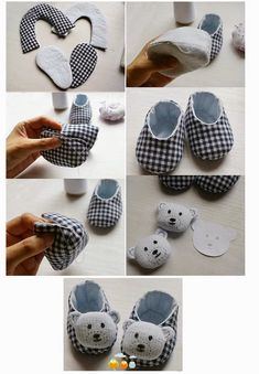 Armarinho São José: Mini PAP How to make a baby shoe with Fabric! Doll Shoe Patterns, Baby Shoes Pattern, Baby Dress Patterns, Sewing Baby Clothes, Girl Doll Clothes, Baby Sewing Projects, Sewing For Kids, Baby Boots, Diy Baby Shoes Boy
