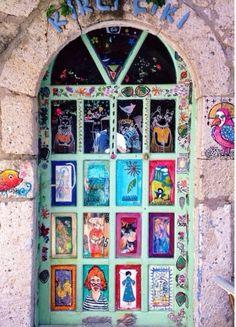 Found this painted door in Alacati, Izmir, Turkey. Grand Entrance, Entrance Doors, Doorway, Cool Doors, Unique Doors, Porte Cochere, When One Door Closes, Knobs And Knockers, Painted Doors