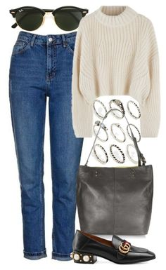 """""""Untitled #5410"""" by rachellouisewilliamson on Polyvore featuring Topshop, Ray-Ban, ASOS and Gucci"""