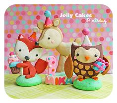 Forest Friends Birthday Party keepsake cake topper set by jelly Cakes Designs