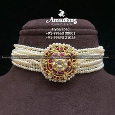 Stunning choker with multi pearl strings. Choker studded with rubies and polki. For More Info Whatsapp on : Fashion Jewelry Necklaces, Beaded Jewelry, Bridal Jewellery, Gold Jewelry, Gold Necklace, Hyderabadi Jewelry, Rajputi Jewellery, Royal Jewelry, Necklace Designs