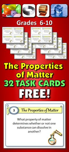 These 32 FREE TASK CARDS with EDITABLE ELECTRONIC TEMPLATE are a great activity for student centered enrichment or review. It is a handy tool for early finishers or as an independent study or group activity. PROPERTIES EXAMINED: ductility, malleability, melting point, melting point, magnetism, luster, viscosity, color , crystal form, density, hardness, combustibility, odor, taste, reactivity to water, texture, solubility, electrical conductivity, state of matter, clarity