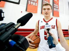Matz Stockman responds to questions from the media during University of Louisville Men's Basketball Media Day at the Yum! Practice Facility