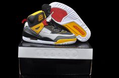 Big Kids Jordan Shoes Kids Jordan Spizikes Cement White Yellow [Kids Jordan Spizikes - It features a leather upper with perforation and plastic mesh detailing. Jordan Shoes For Kids, Jordan Shoes Online, Cheap Jordan Shoes, Cheap Jordans, Nike Shoes Cheap, Kids Jordans, Air Jordan Shoes, Jordan 3, Jordan Retro