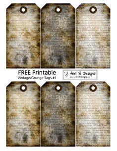 J Ann B Designs: Vintage/Grunge Tags 1 - FREE Printable halloween cards free printables Vintage Tags, Grunge Vintage, Images Vintage, Vintage Labels, Vintage Ephemera, Vintage Paper, Printable Images, Printable Labels, Printable Paper