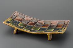 掛分織部刻文俎板皿 Chopping board plate with engraved, Oribe type with amber glaze 2013 Glaze, Amber, Dish, Type, Board, Furniture, Home Decor, Enamel, Plates