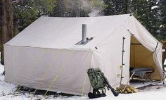 Cabela's Outfitter Wall Tents by Montana Canvas Without Frame - fire Cheap Camping Tents, Camping Hacks, Camping Cabins, Rv Hacks, Camping Gear, Family Tent, Family Camping, Survival Life, Survival Prepping