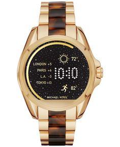 Michael Kors Access Unisex Digital Bradshaw Gold-Tone Stainless Steel & Tortoiseshell-Look Acetate Bracelet Smartwatch 45mm MKT5003