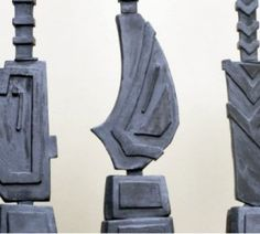 Medium Sized Earthenware Clay Sculpture Totems