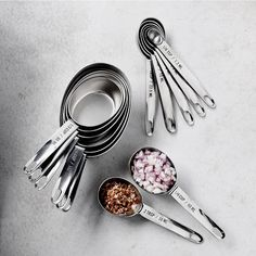 Williams Sonoma Stainless-Steel Nesting Measuring Cups & Spoons Sets #williamssonoma Baking Utensils, Cooking Utensils Set, Cooking Tools, Kitchen Utensils, Cool Kitchen Gadgets, Kitchen Items, Kitchen Supplies, Kitchen Stuff, Kitchen Tools