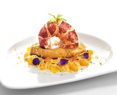 Recipe Blue Lobster and poached Foie Gras slices with citrus mousse