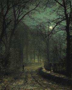 """Yorkshire Lane in November 1873 - John Atkinson Grimshaw (6 de septiembre de 1836, Leeds - 13 de octubre de 1893, Leeds, UK), fue un """"pintor imaginativo y notable"""" de la época victoriana conocido sobre todo por sus escenas nocturnas y paisajes románticos con neblina. Su técnica empleada fue la del prerrafaelista. Firmaba sus primeras pinturas  """"JAG"""", """"J. A."""