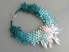 Floral soutache necklace, white–turquoise gradient