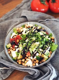 Easy Greek salad with chickpeas // Perfect for lunch // Vegetarian + Gluten free Dinner Is Served, Cherry Tomatoes, Cobb Salad, Feta, Cucumber, Salads, Greek, Gluten Free, Vegetarian