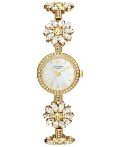 kate spade new york Women's Gold-Tone Stainless Steel and Crystal Daisy Bracelet Watch 20mm KSW1083 - Gold