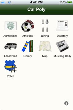 #Cal #Poly #App! Woo hoo! Tons of information about the University, some of which includes Admissions, University Police, Kennedy Library, Maps and of course #Campus #Dining!