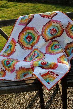 Rainbow Spiderweb Quilt by theknicksofknacks, via Flickr