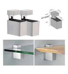 Superior Dolle Cuadro Stainless Steel Adjustable Shelf Brackets For Up To Shelf    Pair
