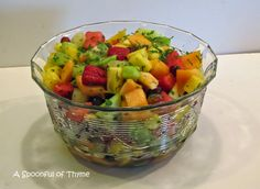 A Spoonful of Thyme: Fruit Salad with Honey-Lime and Mint Syrup