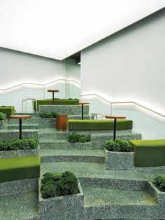 Nota Architects has recently completed the HEYTEA Bakery in Hangzhou, China, that draws inspiration from tea plantations found in the mountains. Bakery Interior, Office Interior Design, Interior And Exterior, Interior Decorating, Restaurant Seating, Egg Restaurant, Tiered Seating, Hidden Lighting, Cool Office Space