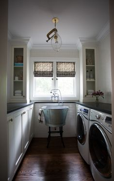 Noteworthy from Cloth & Kind - Love the sink and counters in this laundry room.