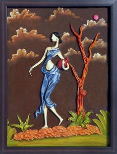 Indian Village Woman Carrying Water Pot - Wall Hanging (Poly Resin on Hardboard))