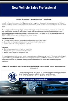 car sales manager jobs Job Advert: Internet Car Sales Manager We are currently looking . Sales Manager Jobs, Car Sales, Automotive Sales, Chrysler Jeep, Best Online Casino, Communication Skills, 40 Years, Used Cars, Cars For Sale
