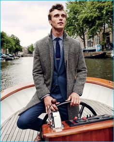 Clément Chabernaud pictured in a Ludlow shirt and herringbone coat from J.Crew.