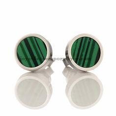 aretes verde redondo en plateado en acero inoxidable de acero inoxidable SSEGG833017