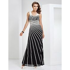 Sheath/Column V-neck Floor-length Tulle And Stretch Satin Evening Dress – CAD $ 212.69