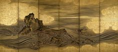 """Attributed to Hasegawa Tōgaku, """"Waves and Rocks,"""" Momoyama period, early 17th century. Right screen from a pair of six-panel folding screens: ink and gold on paper with sections covered with gold foil. Private Collection YaleNews   'Byōbu: The Grandeur of Japanese Screens' at Yale Art Gallery"""